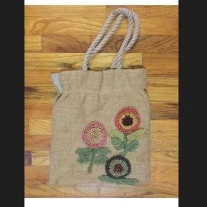 Vintage J.Crew straw bag tote purse j. Crew flower